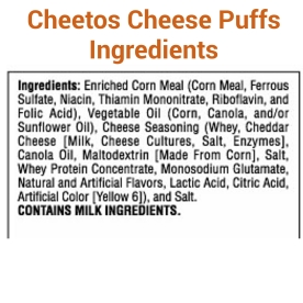Cheetos Puffs Ingredients