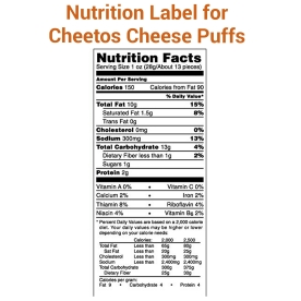 Cheetos Puffs Nutrition