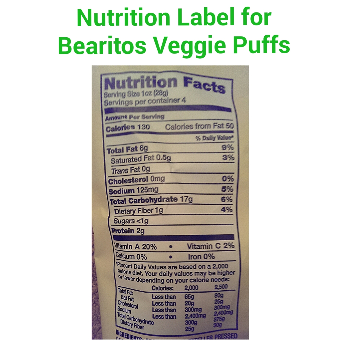 Bearitos Veggie Puffs Nutrition